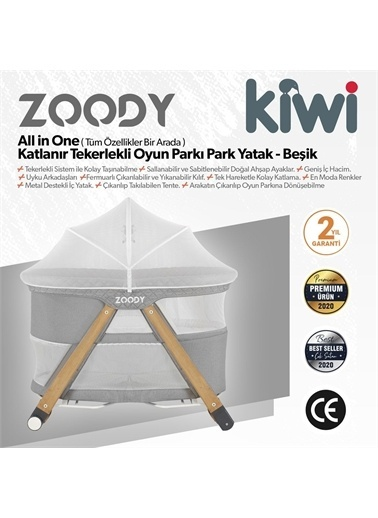 Kiwi Zoody 3 in 1 Bebek Beşiği, Oyun Parkı ve Park Yatak Gri